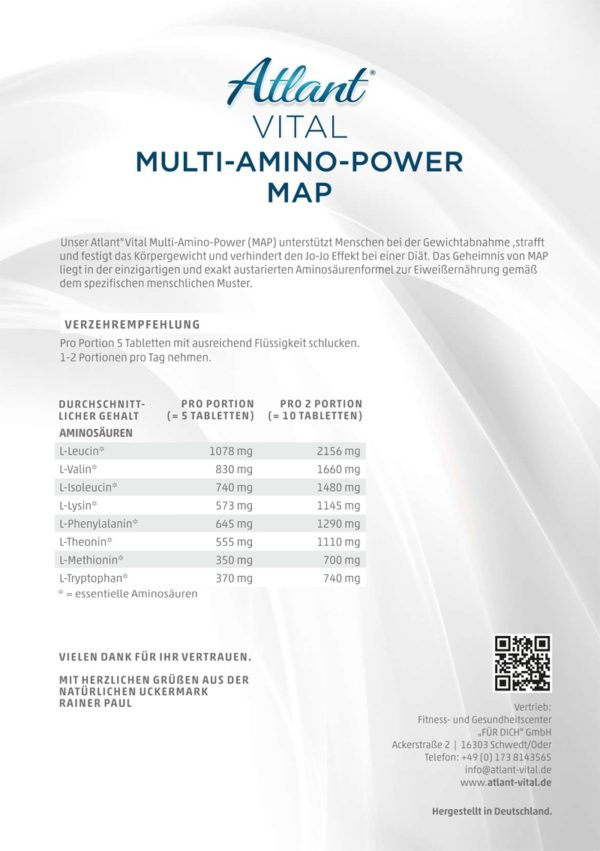 Inhaltsstoffe der Multi Amino Power MAP