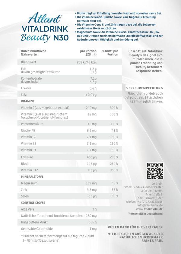 Inhaltsstoffe von Atlant-Vitaldrink-Beauty N30